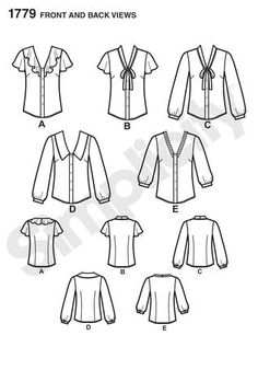 Simplicity 1779 from Simplicity patterns is a MIsses Blouse sewing pattern