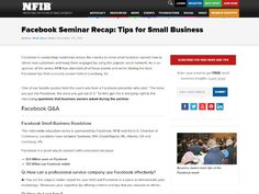 """I wrote this recap of a live event that NFIB co-sponsored with Facebook. The article continues to get traffic in 2016 for """"facebook seminar."""""""