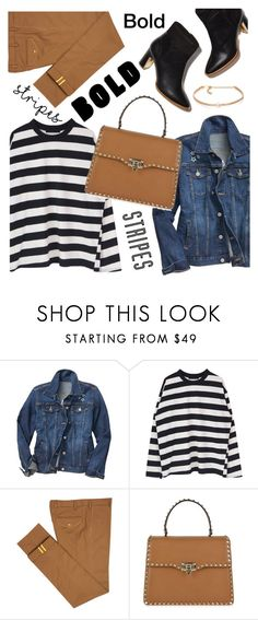 """""""Bold stripes"""" by maria-maldonado ❤ liked on Polyvore featuring Gap, Diverso, Valentino, Kenneth Jay Lane and BoldStripes"""