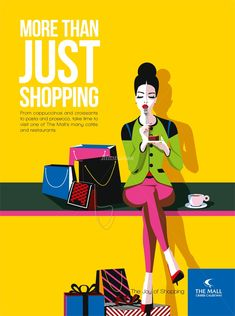 Illustration of woman with shopping bags