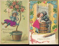 Lot of 2 Vintage Silk Postcards Beautiful Children GGG600 | eBay