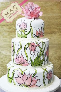 Wild Sugar Peony Cake ~ hand painted and all edible