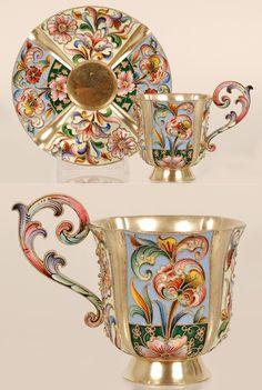 russian enamel tea cups