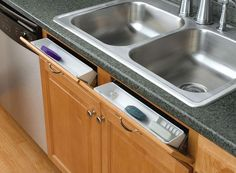 Turn an unusable cabinet front into a handy tip out tray. This set comes with 2 trays and 2 sets of handy hinges!