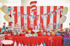 Dr. Seuss Themed Dessert Table  #catinthehat