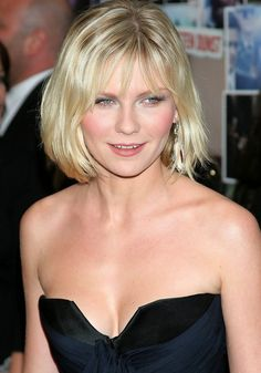 Kirsten Dunst Short Blonde Bob Haircut for Round Face Shapes /Getty images Haircuts For Round Face Shape, Short Hair Cuts For Round Faces, Face Shape Hairstyles, Wavy Bob Hairstyles, Haircuts For Long Hair, Hairstyles For Round Faces, Curly Haircuts, Work Hairstyles, Fringe Hairstyles