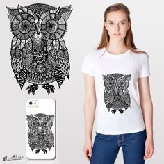 Zentangle Owl on Threadless