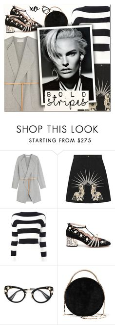 """Big, Bold Stripes IV"" by vampirella24 ❤ liked on Polyvore featuring Vanessa Bruno, Gucci, Boutique Moschino, Eddie Borgo and xO Design"