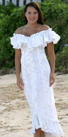 Wailea Wedding Ruffle Muumuu from Hawaiian Outpost