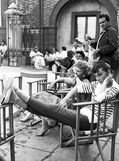 Audrey Hepburn in Breton Stripes, crops and ballet flats. The outfit would fly today no problem.  So french looking!