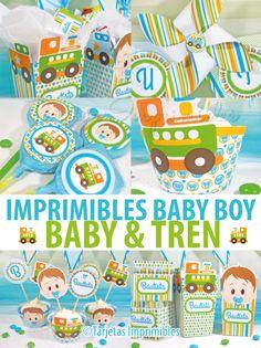 Imprimibles para baby shower, bautismo, nacimiento, o 1º añito con motivos de bebé y tren
