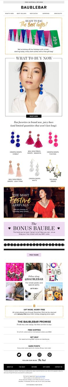 """This newsletter from Baublebar tells shoppers """"What to Buy Now"""", building purchase intent almost immediately."""