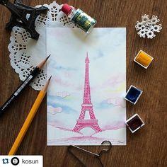 pink eiffel tower   #illustration#instaart#instalike#paris#eiffel#tower#pink#drawing#pen#watercolor#colorpencil#postcard#일러스트레이션#일러스트#파리#핑크#에펠탑#드로잉#엽서#hyunwoofly by hyunwoofly