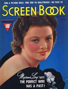 "Myrna Loy on the front cover of ""Screen Book"" magazine, USA, February 1938."