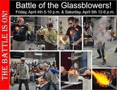 The battle of the glassblowers in Kalamazoo Sitting with anticipation in an old church pew Gaffers from as far as Chicago and Detroit To show of their talent, and some glass to exploit Making things they normally,  never would do A chicken, an elephant, and a spider web too Laughing and joking, making things out of glass All with a time limit. They've got to move fast!  Not everything made it… that is just life All glassblowers know it, and except that strife  4/6/09