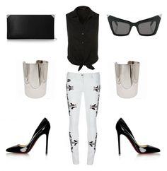 (Alexander Wang 'Prisma Giant' clutch, Topshop shirt, Alexander Wang 'Linda Farrow' sunglasses, Christian Louboutin 'Pigalle' heels, Isabel Marant 'Renell' pant, Metal cuff bracelet)