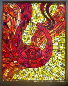 Window/Glass Mosaic by Jennifer Kuhns, depicting Marushka, from a Scandinavian fire-bird folk tale.
