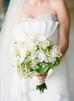 Emerald Green Aviation Inspired Wedding Inspiration Flower Bouquet with White Flowers and Roses