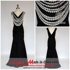 China Sheath Deep V-Neck Floor Length Elastic Satin Black Evening Dress Black Evening Dress with Pearl Necklace (J-82223) - large image for Evening Dress