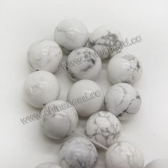Gemstone Beads, White Howlite, Smooth round, Approx 14mm, Hole: Approx 1.5mm, 28 pcs per strand, Sold by Strands