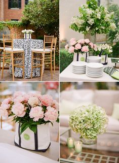 Cafe seating + buffet styling for a casual garden rehearsal dinner party. Monogramed tote bags gave floral a just brought home from the market feel by Ritzy Bee Events. Photography by: Kate Headley #wedding #springwedding