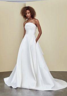 Strapless A-line Simple Wedding Dress   Kleinfeld Bridal Amsale Bridal, Bridal Gowns, Wedding Gowns, Wedding Attire, Fit And Flare Wedding Dress, Wedding Dresses Plus Size, One Shoulder Wedding Dress, Bride Dresses, Wedding Dresses Pinterest