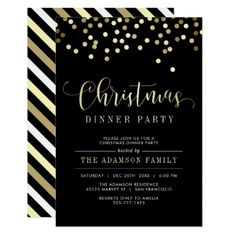 Gold Confetti Christmas Dinner Party Invitation - invitations custom unique diy personalize occasions