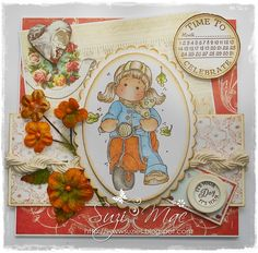 Sweet Scooter Tilda from http://www.magnoliastamps.us/ #cards #crafts more info at http://wwwsuzies.blogspot.co.uk