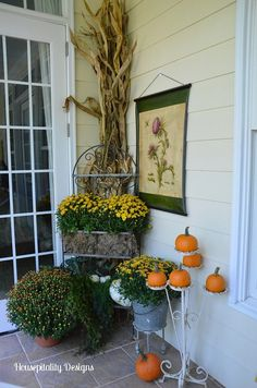 Day Two Of Fall Around The House Party .Upper Back Porch Decorated For Fall