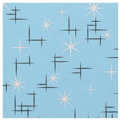 Shop Retro Stars Fabric created by tjustleft. Mid Century Modern Fabric, Mid Century Art, Mid Century Modern Design, Retro Fabric, Vintage Fabrics, Textile Design, Fabric Design, Retro Wallpaper, Vintage Wallpapers