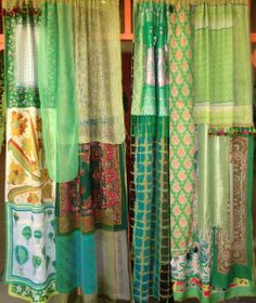 LA FEE VERTE Handmade Gypsy Curtains by BabylonSisters on Etsy Cameron-Hollyer Cameron-Hollyer Cameron-Hollyer Webster Gypsy Curtains, Ikea Curtains, Drop Cloth Curtains, Vintage Curtains, Burlap Curtains, Green Curtains, Curtains Living, Velvet Curtains, Colorful Curtains