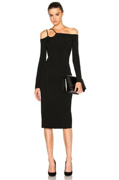 Image 1 of David Koma Off Shoulder Dress in Black