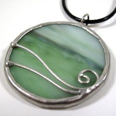 Seamist  Stained Glass Pendant with Black Cord by faerieglass, $20.00