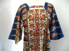 Blue hippie shirt/ vintage ethnic tunic w/ open back/ by BohoRain