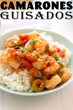 Puerto Rican Shrimp Stew (Camarones Guisados) - succulent shrimp simmered in a delicious Spanish style sauce with olives. This easy dinner recipe only takes 25 minutes to prepare! Tasty served with rice or pan de agua! Rice Recipes For Dinner, Lunch Box Recipes, Dinner Dishes, Fish Recipes, Seafood Recipes, Breakfast Recipes, Shrimp Stew, Shrimp And Rice, Shrimp And Asparagus