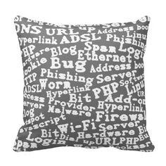 Computer words pillows