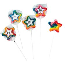 Personalized Star-Shaped Swirl Pops - OrientalTrading.com