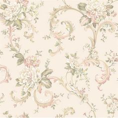 Pink and Off White Floral Scroll Wallpaper