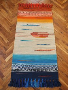 Handwoven wool rug, area rug, floor rug, kilim rug, home decor rug - blue and yellow palette, white color with ornaments