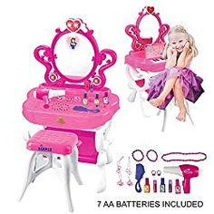 10 Best Little Girls Vanity Table Set Price and Review Girls Vanity Table, Vanity Table Set, Makeup Table Vanity, Vanity Set, Makeup Chair, Little Girl Vanity, Little Girls Makeup, Kids Makeup, Modern Makeup Vanity