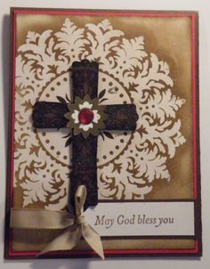 Medallion Cross Card from Addicted to Stamping Blog. Great idea for baptism, communion, confirmation and sympathy card idea.