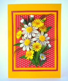 Cheeful greeting card with summer flowers - Quilling Card - Anniversary quilling Card - Love quilling card - Birthday quilling card