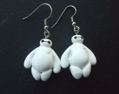 Big Hero 6 inspired Baymax nurse robot earrings lighweight pierced or clip handmade