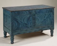 """Lift-top blanket chest, c. 1830, New Jersey, pine with poplar with the original vibrant blue on blue grain painted finish, 26.25"""" high, 42"""" long"""