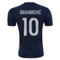 Sweden National Team 2016 IBRAHIMOVIC #10 Away Soccer Jersey