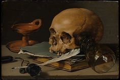Pieter Claesz (Dutch, 1596/97–1660). Still Life with a Skull and a Writing Quill, 1628. The Metropolitan Museum of Art, New York. Rogers Fund, 1949 (49.107) #skull #Halloween
