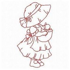 Sunbonnets at Home - Embroidery Playground Vintage Embroidery, Custom Embroidery, Ribbon Embroidery, Embroidery Applique, Cross Stitch Embroidery, Machine Embroidery Designs, Embroidery Patterns, Sue Sunbonnet, Quilt Block Patterns