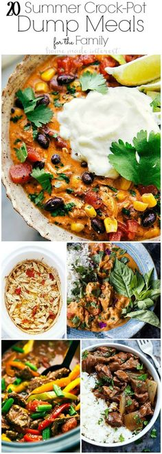 These easy summer crockpot dump meals for the family are great, just dump and go! Freezer cooking in the slow cooker is perfect for dinner on busy nights. Time saving recipes for chicken, beef and meatless options that any family enjoys.