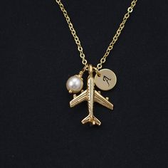 initial necklace, airplane necklace, Swarovski pearl choice, gold airplane charm, pilot gift, airplane jewelry, best friend jewelry,bff gift
