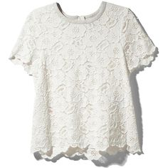 Rachel Zoe Autumn Lace Top ❤ liked on Polyvore featuring tops, t-shirts, shirts, blouses, soft white, layering shirts, layering t shirts, short-sleeve shirt, white sleeveless top and short sleeve t shirt